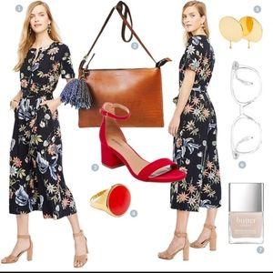 Ann Taylor Wildflower Jumpsuit Size 8 Wide Leg